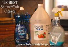 DIY bathroom tub and shower cleaner. The BEST Tub/Shower Cleaner 12 oz. Blue Dawn Heat the vinegar for 2 minutes and add to a spray bottle. Add the Blue Dawn and shake gently to combine. Use to clean your sinks, tubs and showers. Homemade Cleaning Products, Cleaning Recipes, Natural Cleaning Products, Cleaning Hacks, Cleaning Supplies, Diy Cleaners, Cleaners Homemade, Household Cleaners, Household Tips