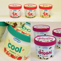 examples of well-designed Ice Cream packaging for your inspiration. Contains many kinds of ice cream packaging examples starts from cup, wrap to pint. Ice Cream Packaging, Coffee Packaging, Coca Cola, Dream Cream, Ice Cream Brands, Best Ice Cream, Strawberries And Cream, Cookies And Cream, Coffee Cans
