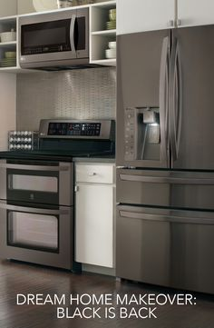Great meals start with great tools. This Black stainless steel series of kitchen appliances extends from French Door refrigerators to double-oven ranges, giving your kitchen a modern, timeless look—and a clean one at that. The dark coating protects your appliances from the dirty smudges of every prep cook and taste-tester that enters your kitchen.