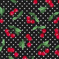 Michael Miller Fabric  Cherry Dot in Black  1 by PKFabulousFabric