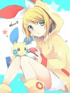 Rin as Plusle with Minun