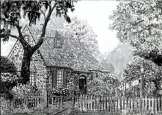 O'Regan Floral Cottage - originally painted by Ave Hurley and now converted into a black and white printable artwork is available at Imagekind starting at $9.49