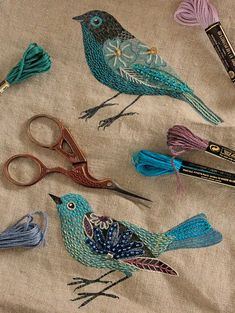 Beautiful embroidered birds