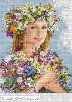 0 point de croix spring russian girl - cross stitch