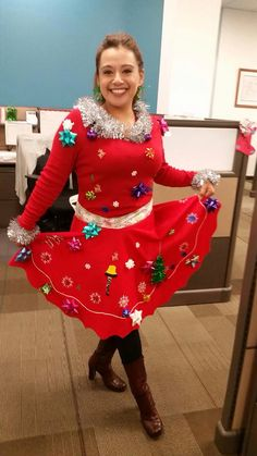 Best Ugly Christmas Sweater, Ugly Outfits, Ugly Sweater Party, Tree Tree, Glue Gun, Dollar Tree, Tree Skirts, Being Ugly, Ornament