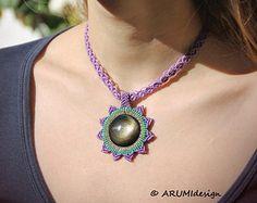 Micro macrame STATEMENT necklace MANDALA with by ARUMIdesign