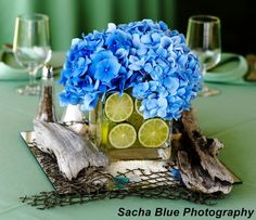 Flowers, Reception, Green, Wedding, Blue, Hydrangea, Designs by courtney - Project Wedding