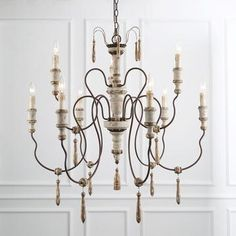 The Gray Barn Windy Bracken Shabby-chic French Country Two-tier Chandelier, Beige - Products - French Country Bedrooms, French Country Cottage, French Country Style, French Country Decorating, Cottage Style, Country Décor, French Decor, French Country Lighting, French Country Chandelier