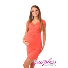Elegant Maternity V-Neck Pregnancy Dress 8415 Coral Classic and elegant v neckline and short sleeves. Made of soft and stretchy material with ruching under the bust that creates extra space for growing bump. Pregnant ladies will look stylish, elegant and feel comfortable in this figure flattering maternity dress. The dress is perfect all year round, ideal for work and special occasions.