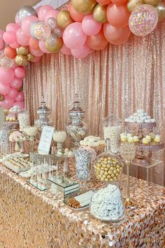 Quinceañera sweets table by with a gorgeous pink and rose gold color palette Sweet 16 Decorations, Quince Decorations, Birthday Party Decorations, Birthday Parties, Rose Gold Party Decorations, Candy Table Decorations, Sweet 16 Themes, Rose Gold Color Palette, Rose Gold Theme