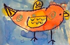 """first grade watercolor birds...I did this as a directed drawing lesson for one of those """"Original Works"""" fund raisers...they turned out BEAUTIFUL and everyone had something worthy of ordering!"""