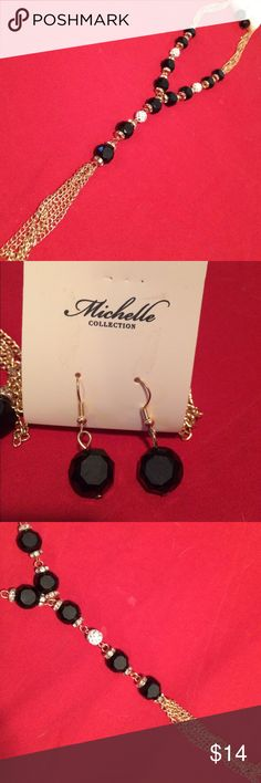 Gold, black, white & crystal necklace & earrings A Beautiful Gold, black, white & crystal beaded  necklace & earrings set. By Michelle Collection Jewelry