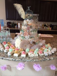 Vintage birdie baby shower party diaper cake! See more party ideas at CatchMyParty.com!