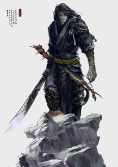 Male samurai (?) fighter with katana. Looks like an undead/vampire/tiefling? #tiefling #fighter #magus (scheduled via http://www.tailwindapp.com?utm_source=pinterest&utm_medium=twpin&utm_content=post554969&utm_campaign=scheduler_attribution)