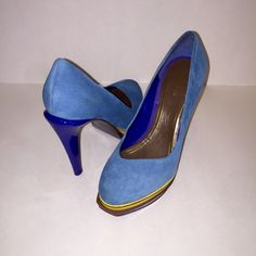 Cole Haan Heels Cole Haan Heel  * Light Blue Suede  * Dark Blue Patent Leather * Nike Air Sole * Worn Once * Perfect Condition * Size 8B Cole Haan Shoes Heels