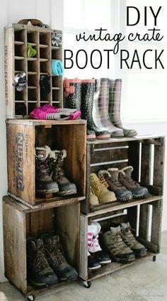Vintage crate boot rack