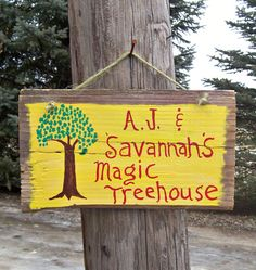 YOUR KIDS TREEHOUSE Barn Wood Sign Boys Girls Hand by JunkWorxxEtc,