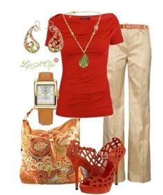 Red shirt, stylish bag, high heel sandals