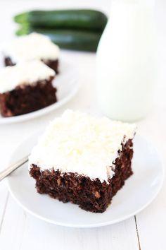 Chocolate Zucchini Coconut Cake Recipe on twopeasandtheirpod.com