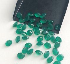 WHOLESALE 10 Pcs 7x9mm Green Onyx Gemstone Lot by gemsforjewels