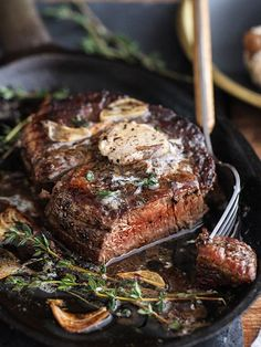 Filet Mignon with Porcini Mushroom Compound Butter creates the most succulent steak you've ever tasted #recipe #steak #meatlovers