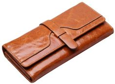 #deal HUALIN Women's Luxury Trifold Wallet brown Leather