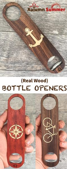 Cool Wood Bottle Openers! Great gifts for the beer lover! Over 12 designs available now, more to come. Just $20 at:  handmadeformen.com!