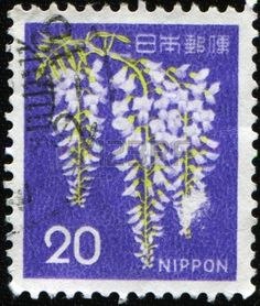 A stamp printed in Japan shows Wisteria, circa 1986