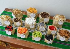 Camp-Themed Birthday Party for Kids. This is the trail mix bar. Love the cute brown paper bags! Birthday Party Snacks, Dinosaur Birthday Party, First Birthday Parties, Nacho Bar, Baking With Kids, Sweet 16 Parties, Tapas, Cake Ideas, Party Ideas