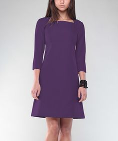 Look at this #zulilyfind! Dark Purple Square Neck A-Line Dress - Plus Too #zulilyfinds