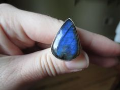Sterling Silver Teardrop Labradorite Ring by SpecialADesigns