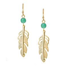 Gold Feather Earrings with Turquoise