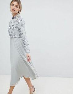 ASOS Floral Embellished Bodice Long Sleeve Midi Skater Dress