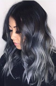 28 Amazing Gray Ombré Inspirations - Hair Colour Trends for 2019 Gray Ombré Silver graphite steel mother-of-pearl a tint of asphalt . All possible variations on the theme of gray are the main trend in colorin. Sombre Hair Color, Gray Balayage, Hair Color For Black Hair, Cool Hair Color, Blue Hair, Black To Grey Ombre Hair, Brown Hair, Dark Grey Hair, Winter Hair Colour