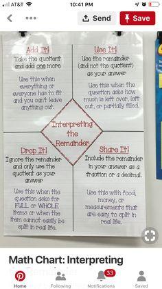 Interpreting the remainder Multiplication Strategies, Math Strategies, Math Resources, Math Activities, Division Strategies, Math Division, Long Division, Math Teacher, Math Classroom