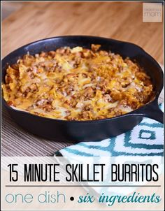 Looking for a healthy dinner when pressed for time? This versatile 15 Minute Skillet Burrito only takes 6 ingredients, is a 9.5 our 10 stars with my kiddos, and super easy. Even better, it's pretty darn healthy when made with lean ground beef and reduced-fat cheese.
