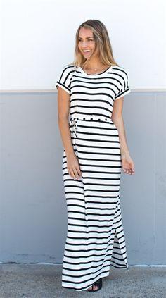 Cuffed Sleeve Striped Maxi Dress
