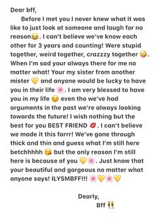 Do you have a bff? Well here's a little paragraph I wrote to mine for bff dayyy 🌹 (June 8 ) Birthday Wishes For A Friend Messages, Happy Birthday Best Friend Quotes, Birthday Quotes For Best Friend, Birthday Wishes Funny, Bff Birthday, Best Friend Messages, Birthday Captions, Card Birthday, Boyfriend Birthday