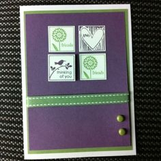 Thinking of You card using Stampin Up - Cute By the Inch stamp set