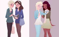"""Ilustradora desenha princesas da Disney com roupas """"normais""""  A Pauline é tão fã da personagem, aliás, que colocou outras princesas ao lado dela. Elsa fez parzinho com Bela e com Tiana."""