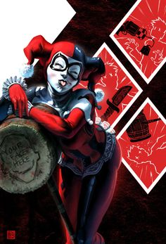 """Harley Quinn, Joker, and Batman Fan Art by Fabian """"Monk"""" Schlaga — GeekTyrant"""