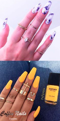 Stylish coffin nails , purple marble \u0026 Yellow coffin nails! Unghie In Gel  Nere,