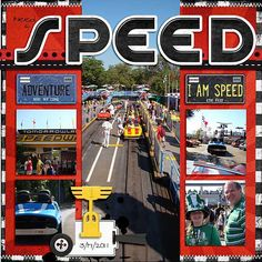 """Speed"": Use for the Tomorrowland Speedway."" Find the car paper stuff I have. Use Cars circuit for shapes. Ideas Scrapbook, Disney Scrapbook Pages, Scrapbook Page Layouts, Baby Scrapbook, Travel Scrapbook, Scrapbook Supplies, Scrapbooking Ideas, Digital Scrapbooking, Disney Rides"