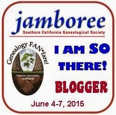 Attention all GeneaBloggers members who are attending the SGCS Jamboree in Burbank this June!  Check out the new badge available for your blog!  See the link below and be part of this new contest!  http://genealogyjamboree.blogspot.com/2015/03/genealogy-jamboree-i-am-so-there.html