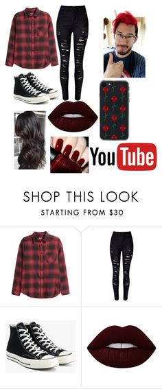 """""""Markiplier inspired outfit"""" by warpedweirdo ❤ liked on Polyvore featuring H&M, WithChic, Converse, Lime Crime, OPI and Zero Gravity"""