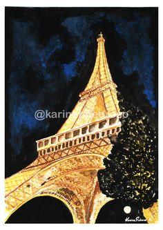 Torre Eiffel em Aquarela Tower, Watercolor, Shop, Saint George, Pen And Wash, Tour Eiffel, Rook, Watercolor Painting, Computer Case