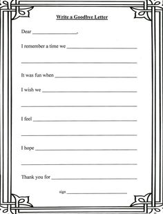Goodbye Letter template - for children coping with grief.