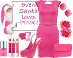 Even Santa Loves Pink! Pink October, Nails Inc, Plexus Products, Luxury Lifestyle, Peplum Dress, Santa, My Style, Polyvore, Shades