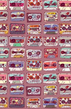 Retro Cassette Tapes ★ Find more Funky Patterns for your #iPhone + #Android @prettywallpaper