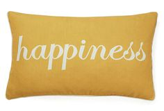 "$25.00  ""Happiness"" 12x20 Cotton Pillow, Yellow on OneKingsLane.com"